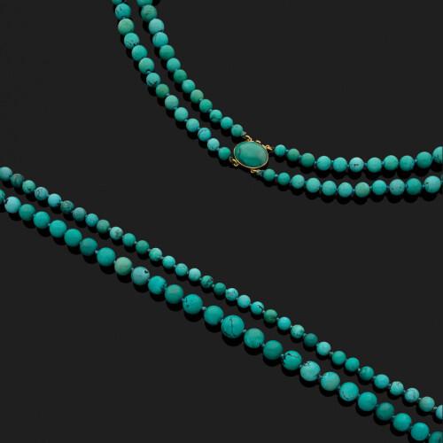e3a3561ff7e Collier deux rangs de 51 et 55 boules de turquoise matrix en chute