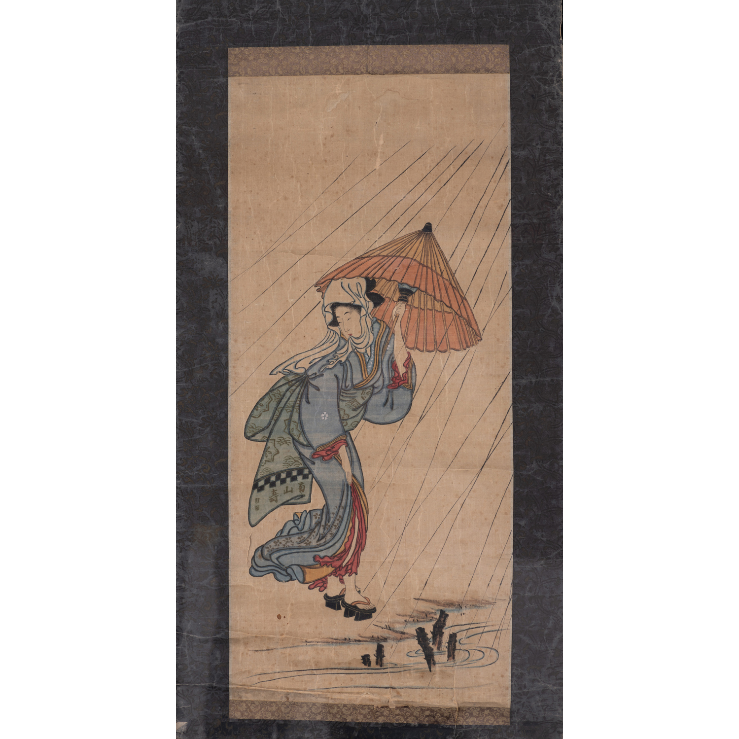 Japon Xixe Siecle Ensemble De Deux Peintures Encre Et Couleurs Sur Papier Et Soie Une Representant