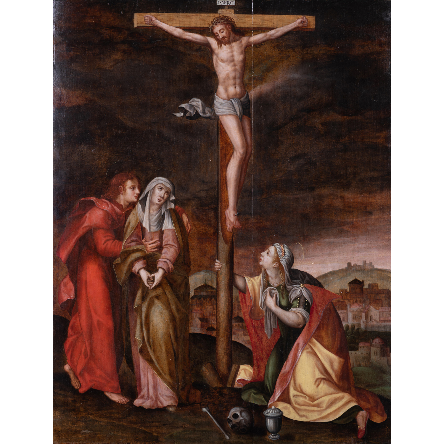 School of Antwerp, circa 1580, follower of Michel Coxcie The Crucifixion...