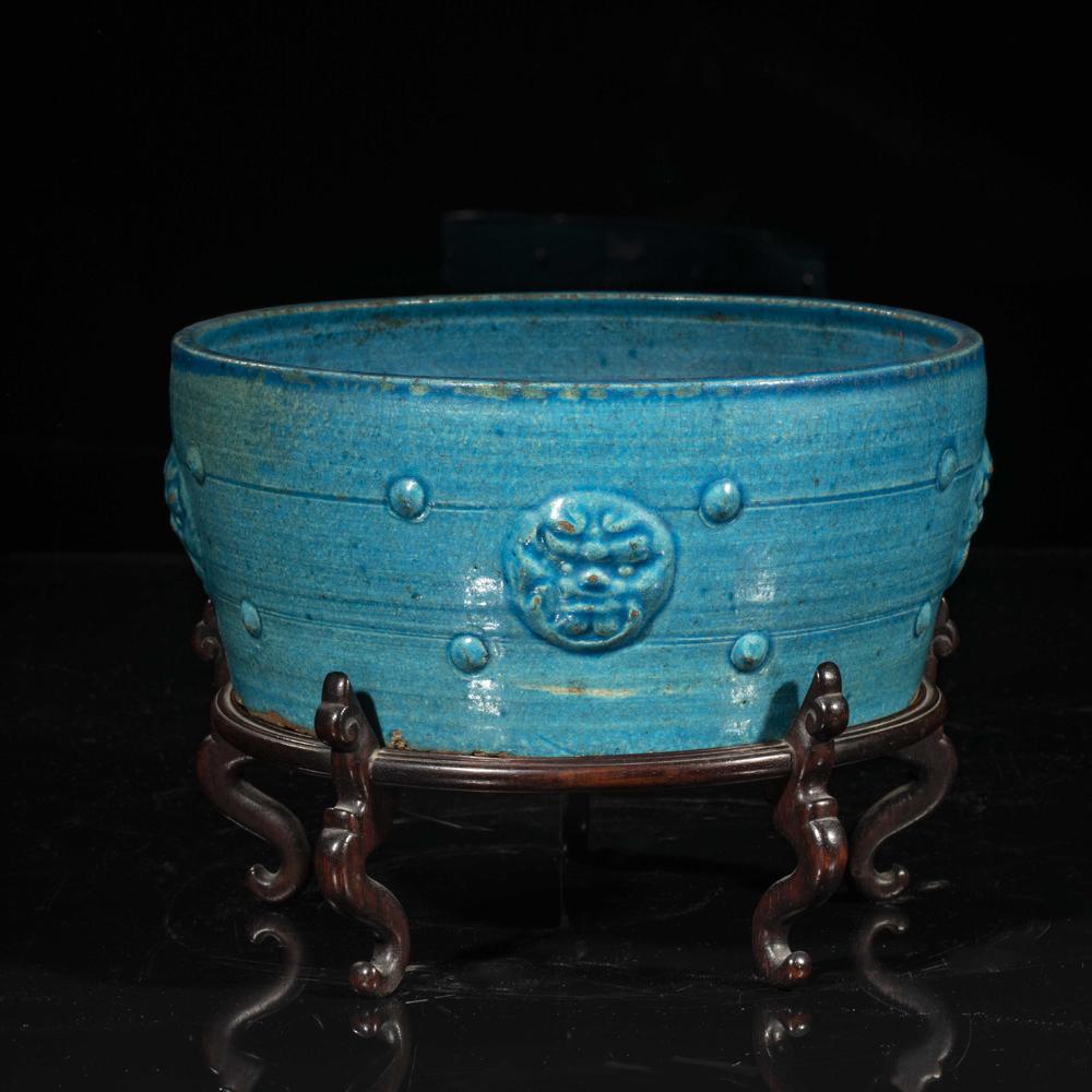 vasque en gres Céramique de la Chine Vasque en grès émaillé bleu turquoise