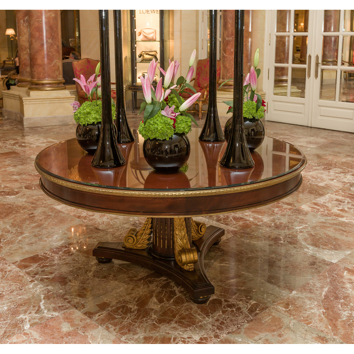 Table H Et H empire style round wooden table, h 75 x d 158 cm